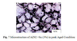 Fig. 7 Microstructure of AZ92 +Sn (3%) in peak Aged Condition