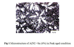 Fig 8 Microstructure of AZ92 +Sn (6%) in Peak aged condition