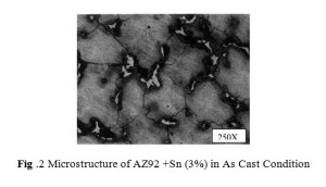 Fig .2 Microstructure of AZ92 +Sn (3%) in As Cast Condition