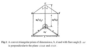 Fig.1: A convex triangular prism of dimension a, b, d and with flare angle β.              is perpendicular to the plane